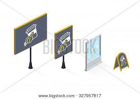 Billboards Isometric Flat Vector Illustrations Set. Roadside Banner, Street Poster, Sign Board. Cafe