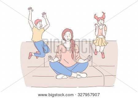 Motherhood, Psychological Balance Concept. Mother Meditating In Lotus Pose With Excited Kids Jumping