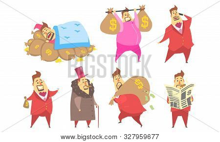 Funny Fat Rich Millionaire In Different Situations Set, Businessman Character In Red Suit Cartoon Ve