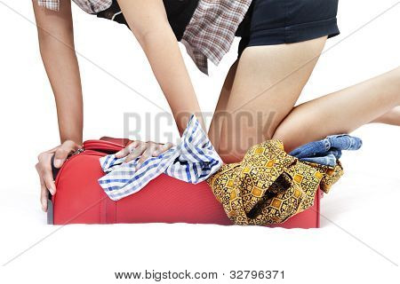 Woman With Overfilled Suitcase