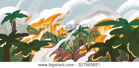 Amazonian Forest Fire Panorama Flat Vector Illustration. Tropical Environment Destruction, Natural D