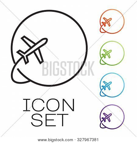Black Line Globe With Flying Plane Icon Isolated On White Background. Airplane Fly Around The Planet