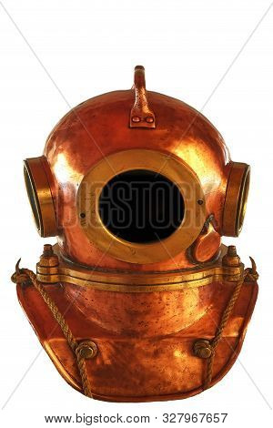 Old Diving Brass Helmet Isolated On White Background Diver Retro Equipment