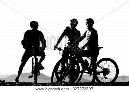 Silhouette Of Three Male Bicyclist On Their Mountain Bikes Having A Rest. Sports, Activity And Bicyc
