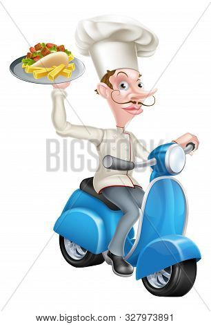 An Illustration Of A Cartoon Chef On Scooter Moped Holding Kebab