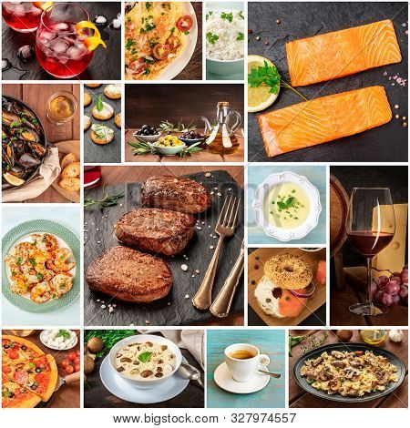 Food Collage. Many Photos Of Tasty Dishes, A Square Design Template For A Banner, Flier, Or Restaura
