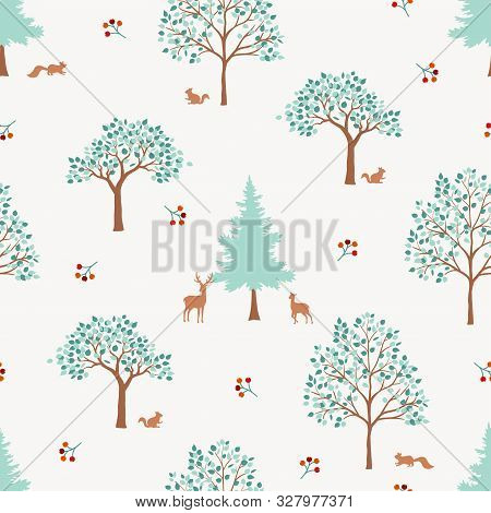 Hand Drawn Cute Forest Seamless Pattern,monotone Green Trees On White Background For Decorative,appa