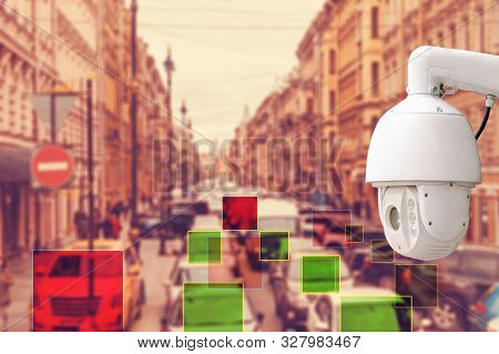 The Concept Of Video Surveillance And Traffic Violations. Cctv Camera Found The Violator Of Traffic,