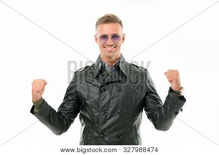 Confident And Powerful. Confident Man Isolated On White. Happy Guy Demonstrate Power. Confident Look