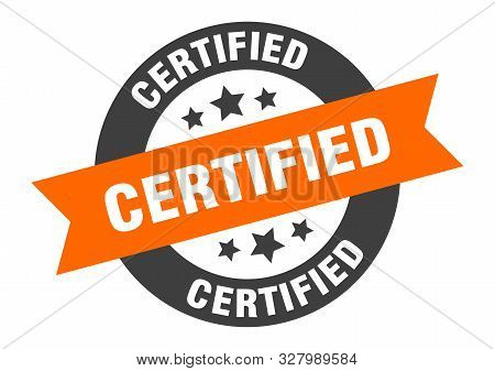 Certified Sign. Certified Orange-black Round Ribbon Sticker