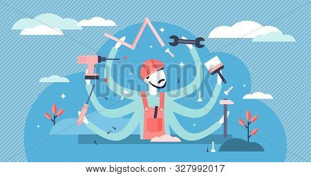 Handyman Vector Illustration. Flat Tiny Diy Work Profession Persons Concept. Occupation For House Bu