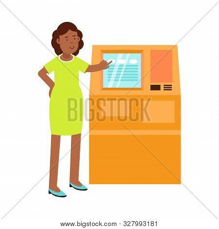 Young Woman Standing Near Atm Tapping On The Interface Vector Illustration