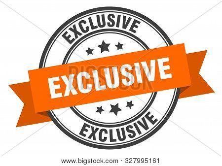 Exclusive Label. Exclusive Orange Band Sign. Exclusive
