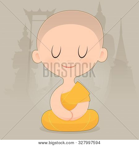 Cartoon Buddhist Monk Of Southeast Asia. Meditation. Vector Illustration.