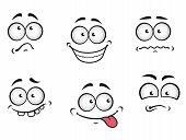Cartoon emotions faces set for comics design poster