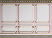 Classic interior wall with gilded mouldings.Ornated cornice.Floor parquet herringbone.Digital illustration.3d rendering poster