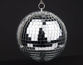 disco ball with small mirrors on dark background poster