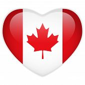 Vector - Canada Flag Heart Glossy Button poster