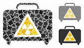 Dangerous luggage mosaic of unequal pieces in variable sizes and shades, based on dangerous luggage icon. Vector raggy pieces are grouped into mosaic. poster