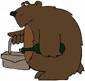 This illustration depicts a bear carrying a picnic basket and bottle of wine. poster