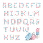 Alphabet set made of toy construction brick blocks isolated isolated on white poster