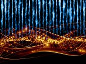 Composition of sine waves musical notes lights and abstract design elements as a concept metaphor for music sound entertainment data visualization and modern technologies poster