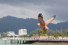Eagle Square And Ferry Jetty On Langkawi Island , Malaysia