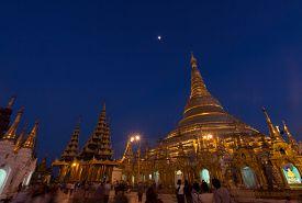 Shwe Dagon Golden Pagoda In Yangon, Myanmar