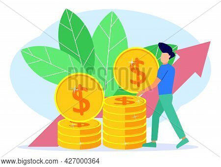 Vector Illustration Of A Business Concept, Businessman Lifting Coins On His Pile, Rapid Economic Gro