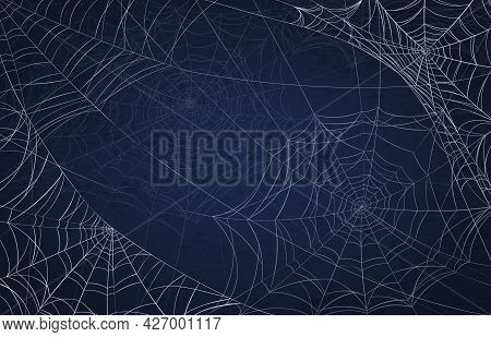 Spider Web Background For Halloween. Spooky Pattern With Realistic Cobwebs. Creepy Holiday Decoratio
