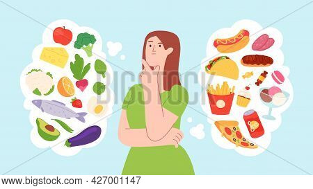 Woman On Food Diet. Healthy And Unhealthy Products Balance. Character Choose Between Fastfood And Ve