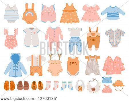 Newborn Clothes. Baby Apparel For Boys And Girls, Dresses, Jumpsuit, Body Suits, Rompers, T-shirts A