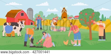 Farming Landscape With Workers. Countryside Farmer Community Feed Animals, Milk Cow And Grow Vegetab