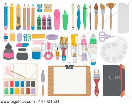 Art Supplies. Artist Toolkit With Crayons, Brushes, Watercolor Paint Tubes, Pencils And Easel. Equip