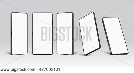 Smartphone Mockups. Realistic 3d Mobile Phone Device Template With Blank Screen. Cellphone In Front,
