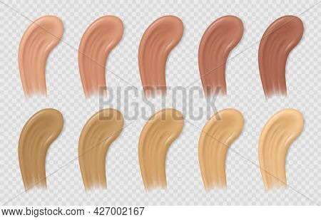 Color Foundation Smudges. Liquid Beige And Brown Concealer Tone Strokes. Realistic Cosmetic Cream Ba