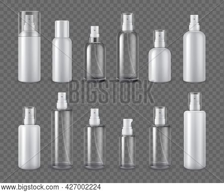 Spray Bottles. Realistic Cosmetic Aerosol, Deodorant Or Sprayer Clear Bottle Package Mockups. 3d Pla
