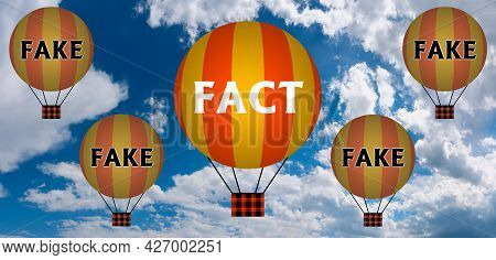 Hot Air Balloons With Fact And Fake Concept. Abstract Background, Thinking And Creativity. 3d Illust