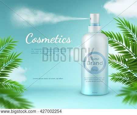 Cosmetic Spray Banner. Natural Skincare Product Poster With Tropical Palm Leaves And Sky Clouds. Rea