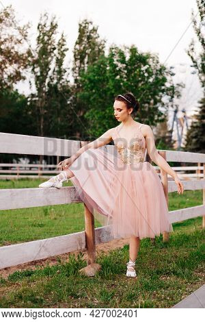 A Young Elegant Ballerina Puts Her Foot On A Wooden Fence And Ties Ribbons On Pointe Shoes In The Pa