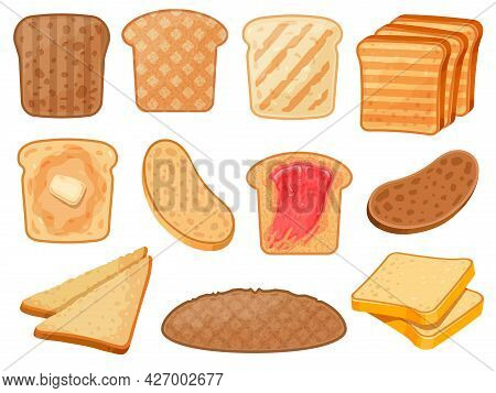 Cartoon Toasts. Fresh Toasted Whole Grain And Wheat Bread Slices With Butter And Jam For Breakfast.