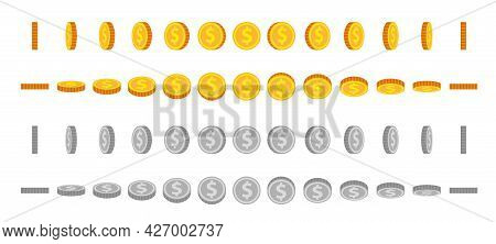 Cartoon Coin Animation Sprites. Gold And Silver Coins Flip And Rotate. Round Dollar For Animated Gam
