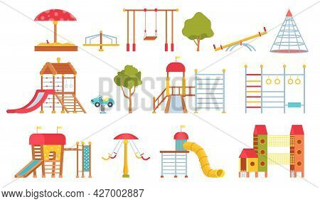 Playground Equipment. Kids Park Carousels, Swings And Game Modules With Slides. Climbing Wall And Sa