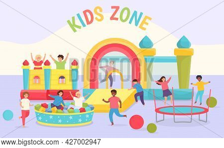 Kids Day Care Playground. Girls And Boys Playing In Room With Trampolines, Bouncy Castles, Soft Pool