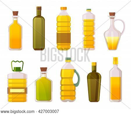 Oil Bottles. Sunflower, Olive, Corn And Vegetable Cooking Oils In Glass And Plastic Packages. Extra