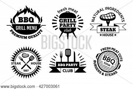 Bbq Logo. Barbecue And Steak House Emblems For Restaurant Menu. Bbq Club Labels With Hot Grill, Meat
