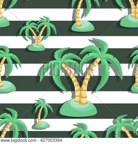 Palm. Vector Striped Background, Isolated With Palm Tree On The Seashore. Design For Textiles, Ecolo