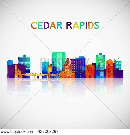 Cedar Rapids Skyline Silhouette In Colorful Geometric Style. Symbol For Your Design. Vector Illustra