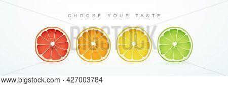 Grapefruit, Orange, Lemon And Lime Cutaway Isolated On White Background. Fresh Citrus Fruits Slices.