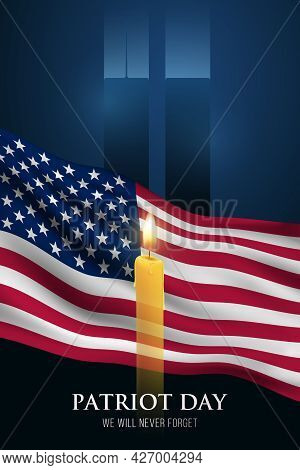 Patriot Day Vertical Banner. We Will Never Forget. Burning Candle Against The Background Of Waving A